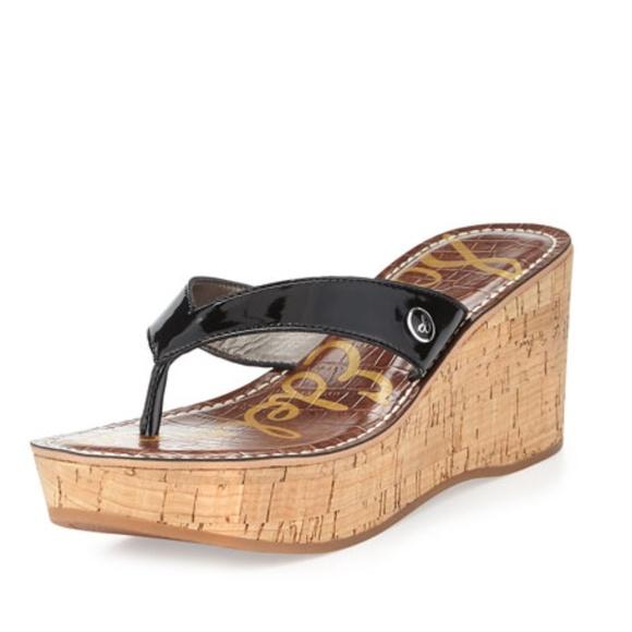 fee5e6a1782433 SAM EDELMAN Romy Wedge Sandal in Black Size 8.5. M 5b5ba704c9bf50e43ab72c4e
